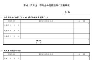 寄附金の受領証等の記載事項